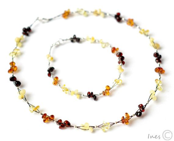 Baltic Amber Set Beaded Amber Necklace and by BalticAmbers on Etsy, $25.00