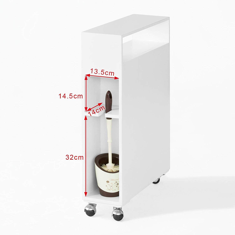 SoBuy® FRG51-W Meuble de rangement à roulettes WC, Porte-papier toilettes, Porte brosse WC ...