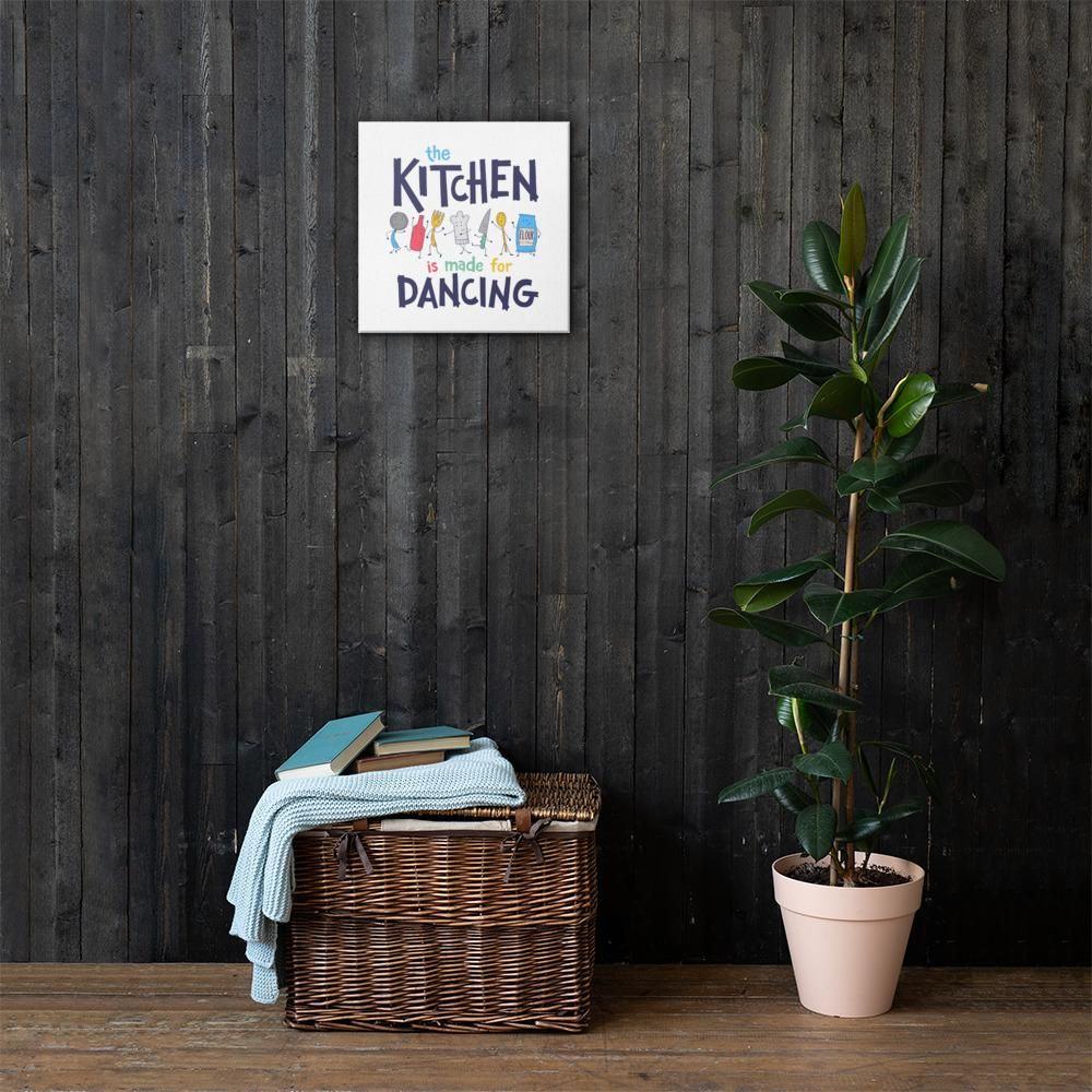 This canvas is the perfect addition to your kitchen decor to remind you to have fun and dance in your kitchen. Canvases are fade-resistant, hand-stretched over solid wood stretcher bars. The canvases is 20.5 mil thick poly-cotton blend canvas with matte finish coating.