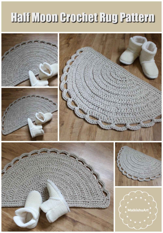English Rug Pattern Crochet Half Moon Pdf Pattern Crochet Etsy Crochet Rug Patterns Crochet Rug Crochet Rug Patterns Free