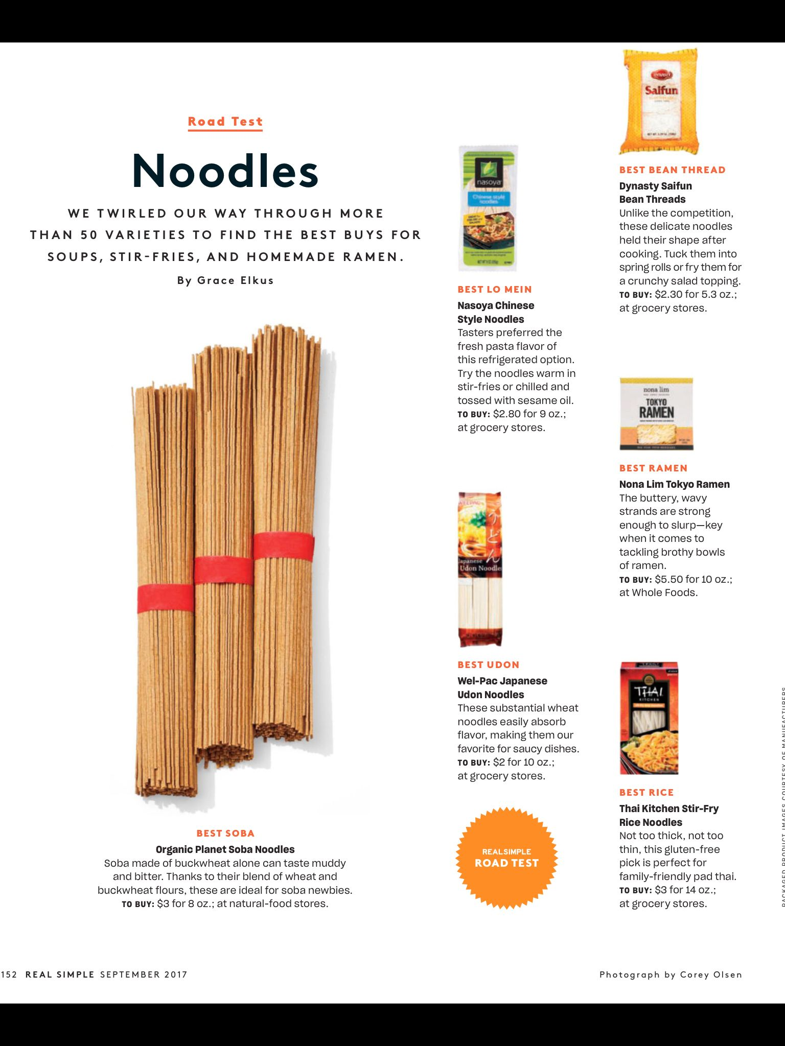 """Noodles"" from Real Simple, September 2017. Read it on the"