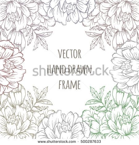 Ornate Floral Flyer With Flowers Doodle Sharpie Background