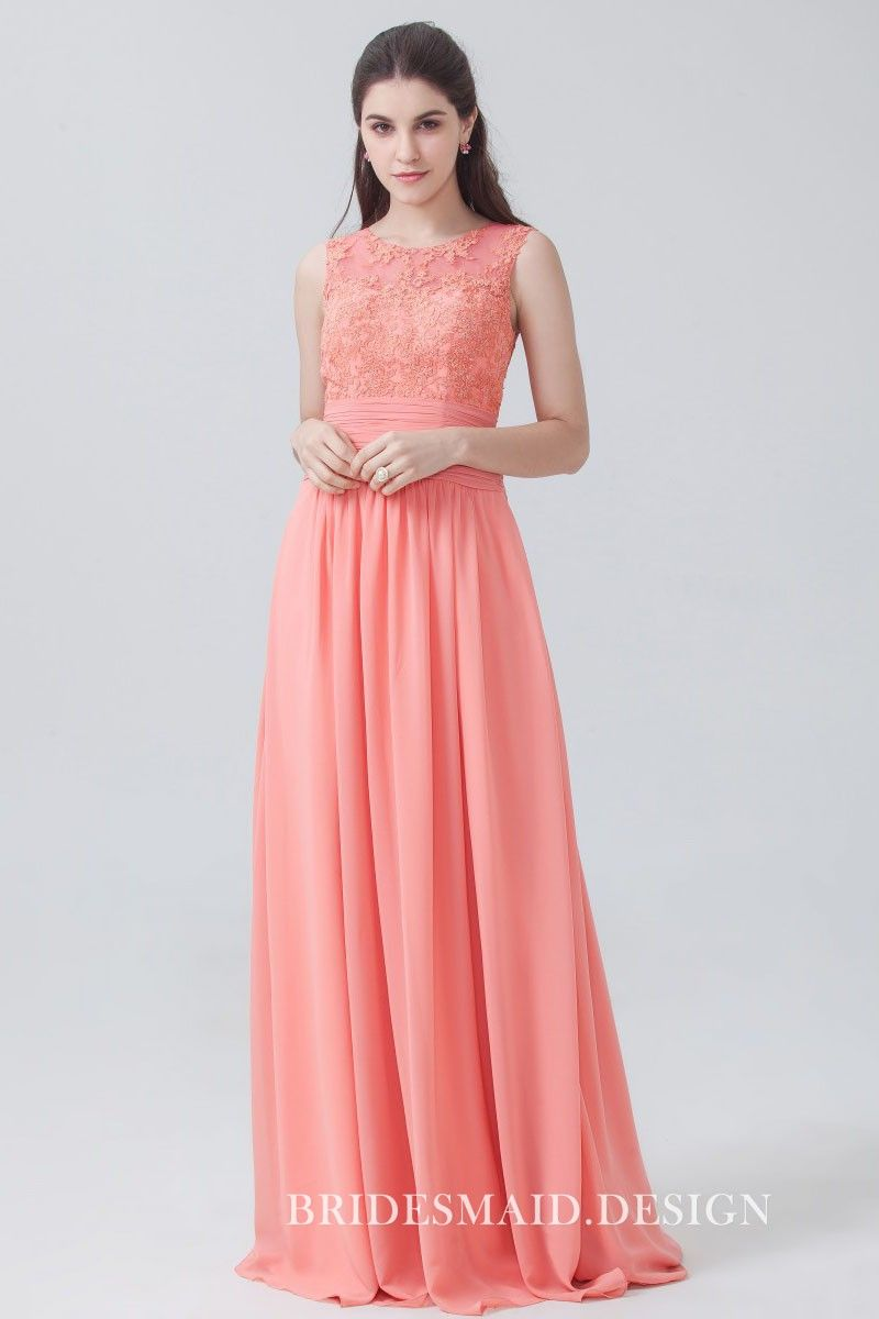 4915e0ce68d3 Coral peach lace and chiffon elegant bridesmaid dress. Floral lace empire  waist top with illusion jewel neckline, sleeveless floor length A-line long  bridal ...