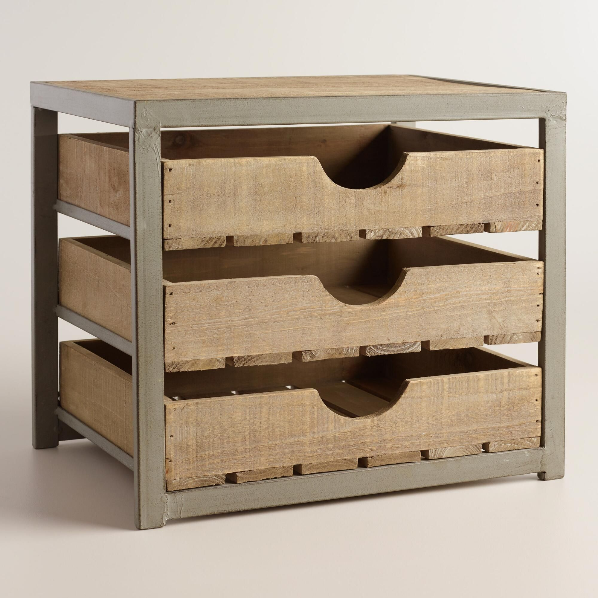 Wood and Metal Sebastian 48-Drawer File  Desktop drawers, Desktop