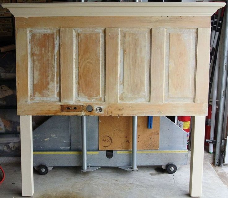 Queen Size Old Door Headboard Made On The Light Side Headboard From Old Door Door Headboard Headboard With Lights