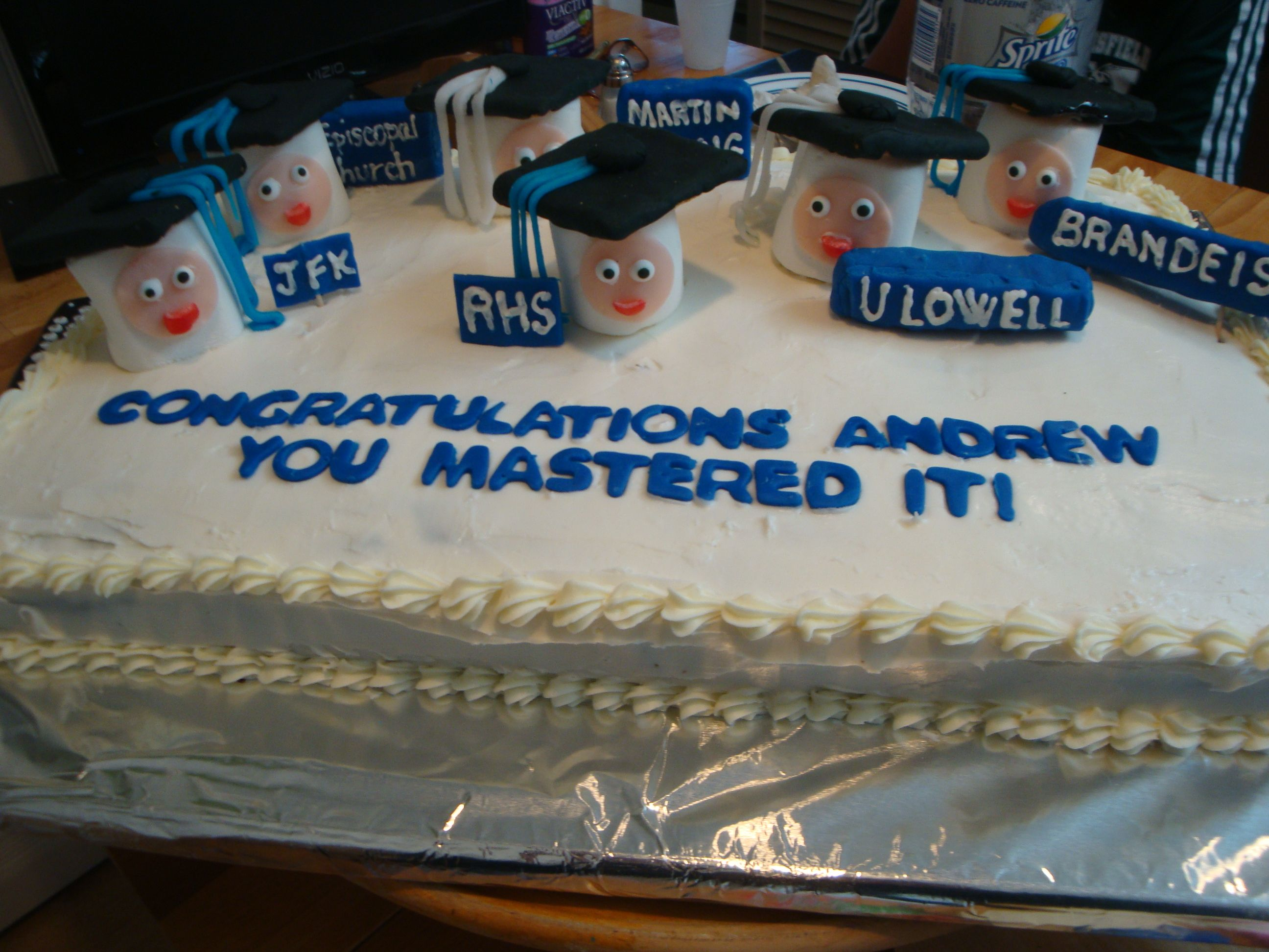A Graduation Cake For Andrew Who Received His Master S Degree From