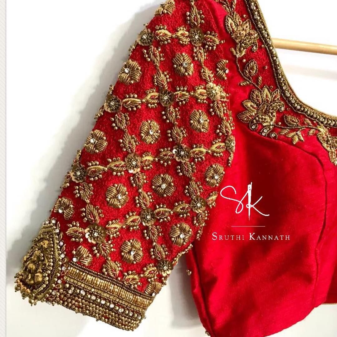 Beautiful red color designer blouse with floral hand embroidery gold
