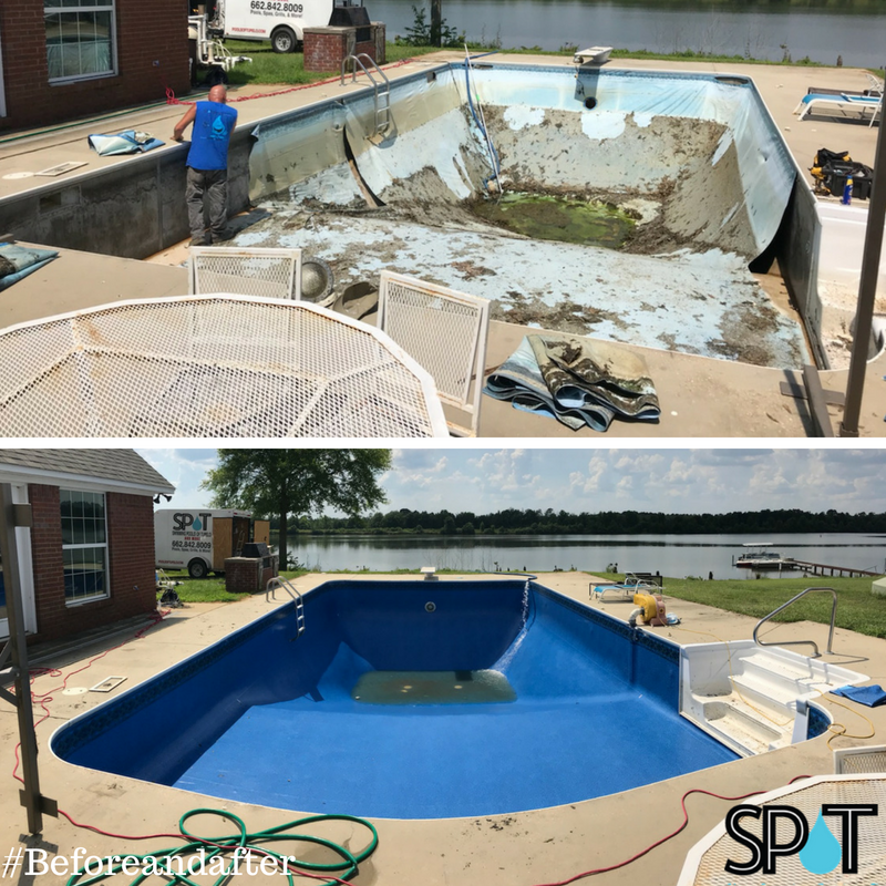 Beforeandafter Pool Liner Installation By Swimmingpoolsoftupelo Request Your Pool Service Appointment At Poolsoftupelo Com Swimming Pools Pool Liners Pool