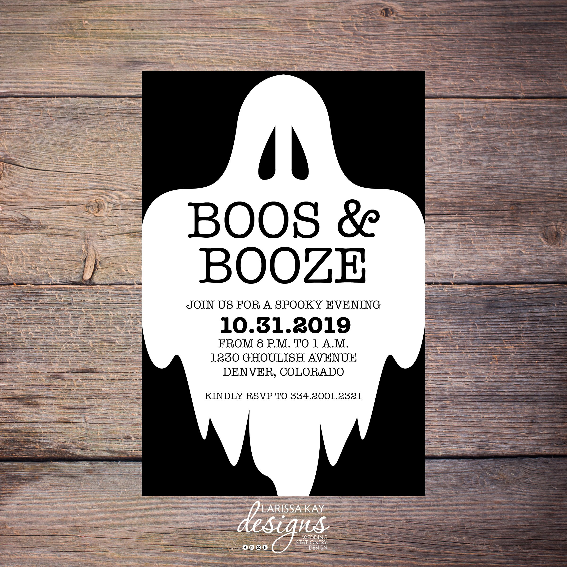 Boos Booze Halloween Invitation Halloween Party