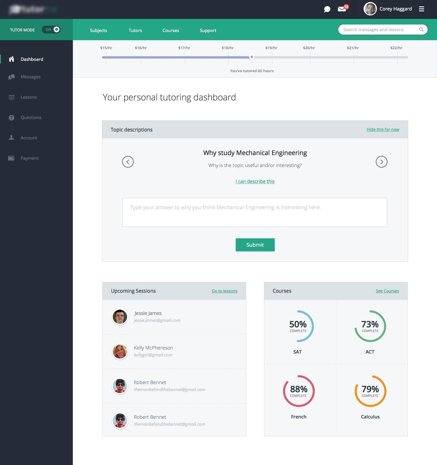 Tutorial App Dashboard