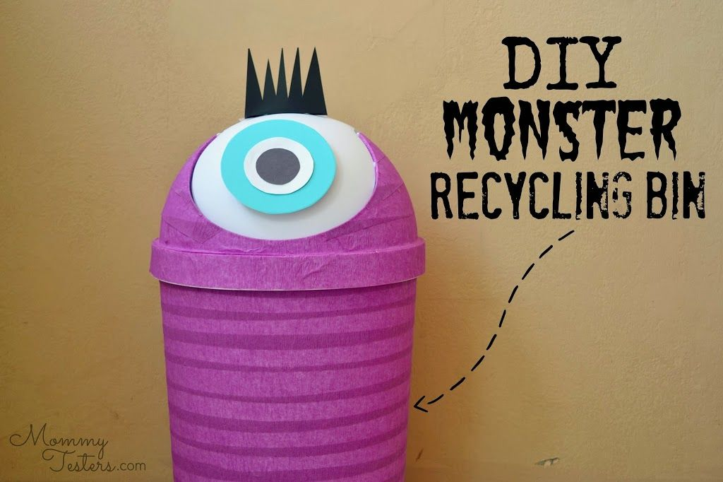 Diy Monster Recycling Containers Fun Recycling Bins For Kids Hello Splendid Recycling Fur Kinder Papierkorb Papier