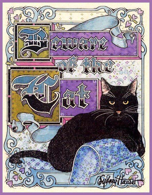Beware Black Cat Art Cats Illustration Crazy Cats