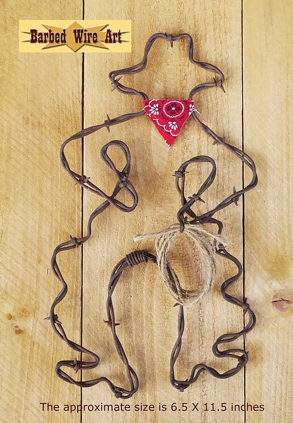 Bow Legged Cowboy - Handmade metal decor barbed wire art country ...
