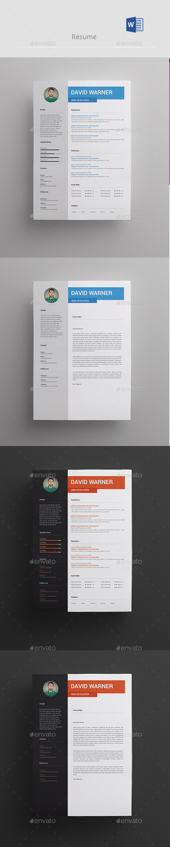 Resume Template PSD, MS Word. Download here: http://graphicriver.net ...