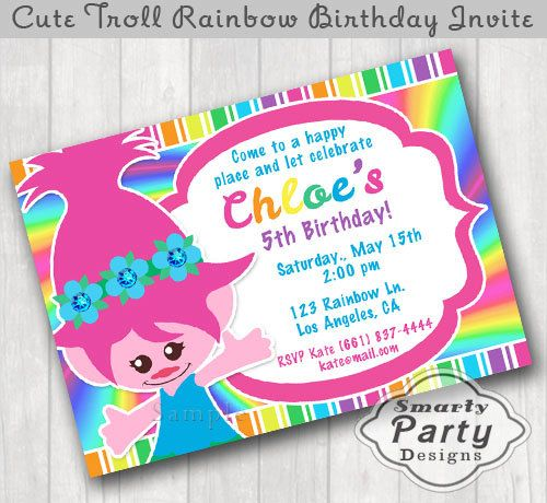 Cute Troll Girl Birthday Invitations Invite Printable Personalized Rainbow Poppy Flower Customized 5