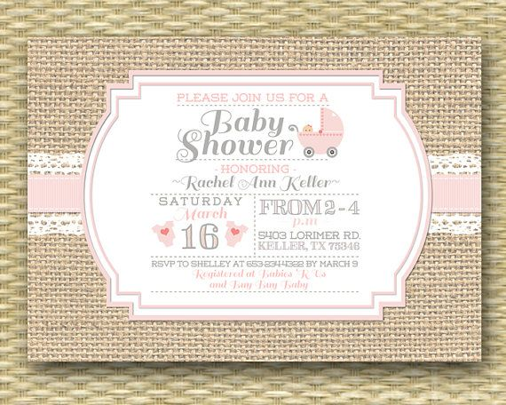 Baby Shower Invitation Burlap Lace Typography Rustic