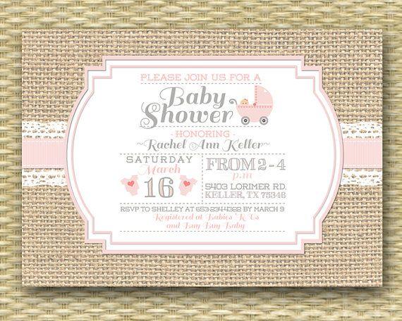 Baby Shower Invitation Burlap Lace Ribbon Pearls Shabby Chic