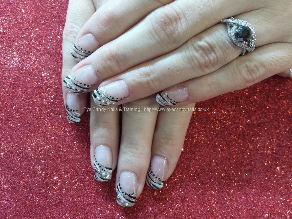 Silver Black And White Nail Art Over Gel Nails Nailed It