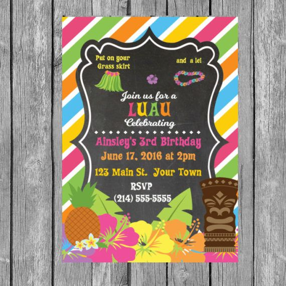 Hawaiian Invitation Hawaiian Theme Party Hawaiian