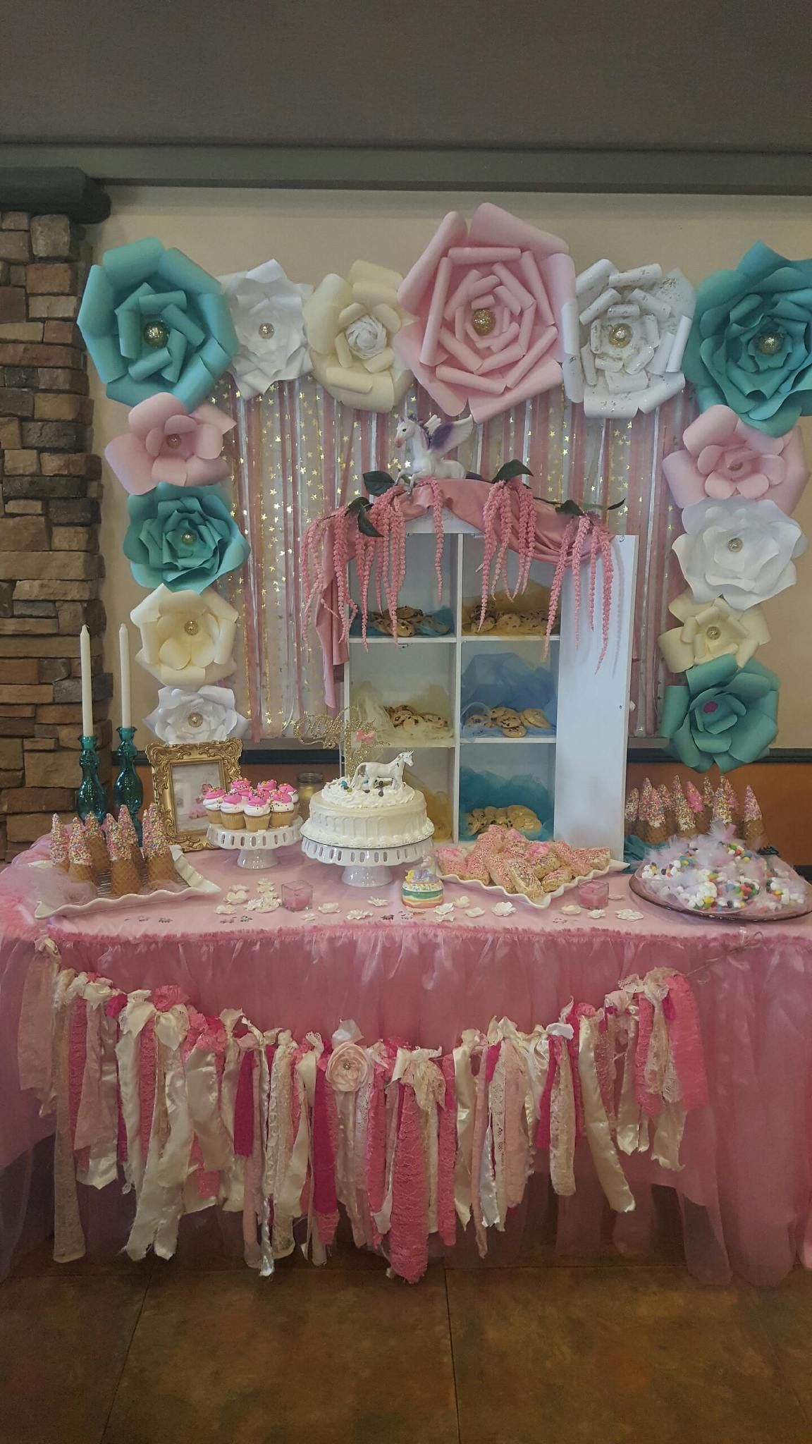 First Birthday Party Magical Unicorn Candy Dessert Cake and