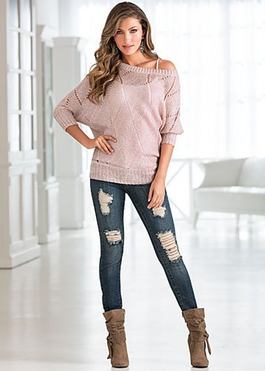Metallic Knit Sweater $39 Seamless Cami $14 Ripped Skinny Denim $39 Knotted Slouchy Boot $39 Venus.com