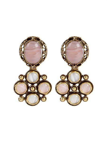 Oscar De La Renta Pink Medieval Drop Earrings