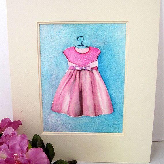Young Girl Dress Art Print of Original by CalArtistWatercolors ...