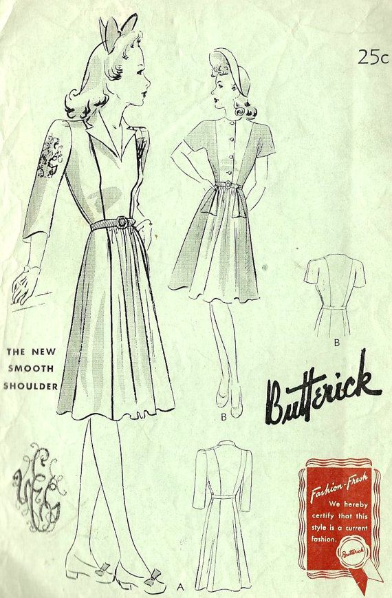 1940s Misses Day Dress Vintage Sewing Pattern