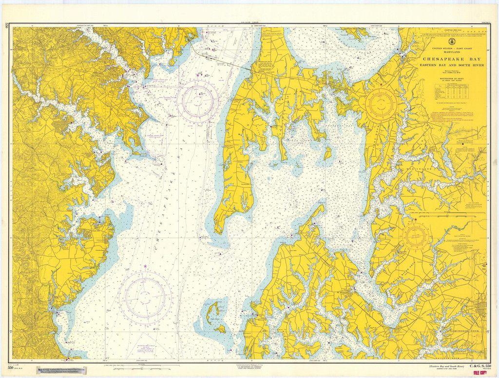 Chesapeake Bay Eastern Bay & South River Historical Map - 1963
