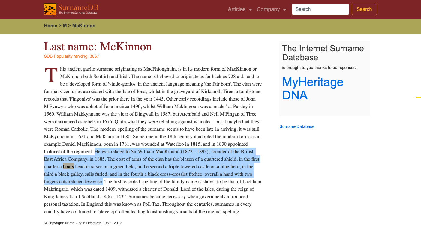 Surname Database: McKinnon Last Name Origin in 2020 | Name origins,  Surnames, Names with meaning
