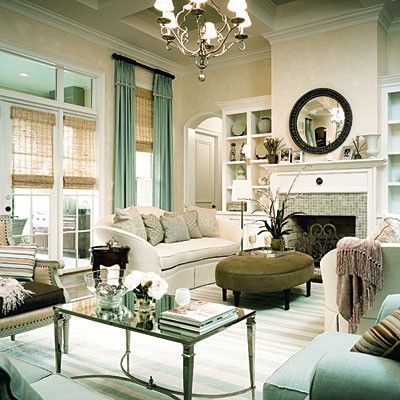 Southern Living Seafoam Green Modern French Living Room Design With
