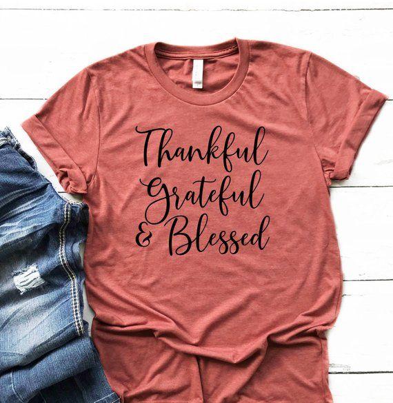 Grateful Thankful Blessed Women's Fall Shirt - Thankful Tee - Thanksgiving Shirt - Fall Shirt Women - Trendy Mom Shirt