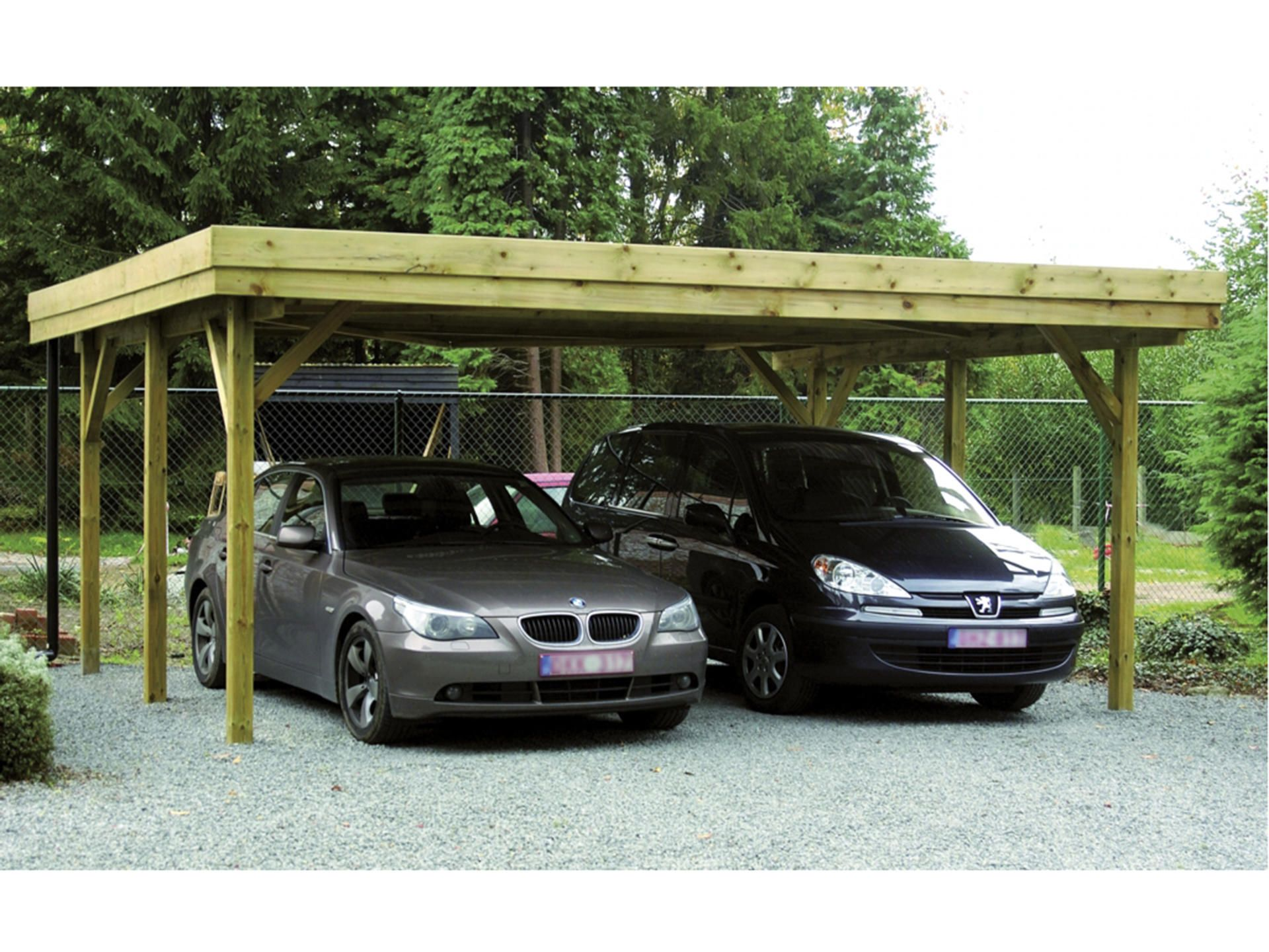 Dubbele carport 604x510 cm hout Potsdam, Pergola
