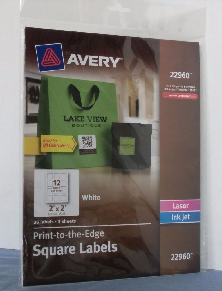 avery 22960 print to the edge white 2 x 2 square labels 3 sheets