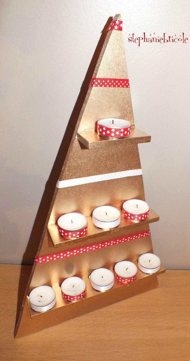 DIY déco NOEL : faire soi-même un sapin triangle tout simple en bois on