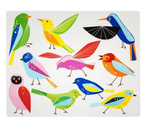 Ikea 4 Place Mats Bird Vibrant Color 11x14 Clear Table Top