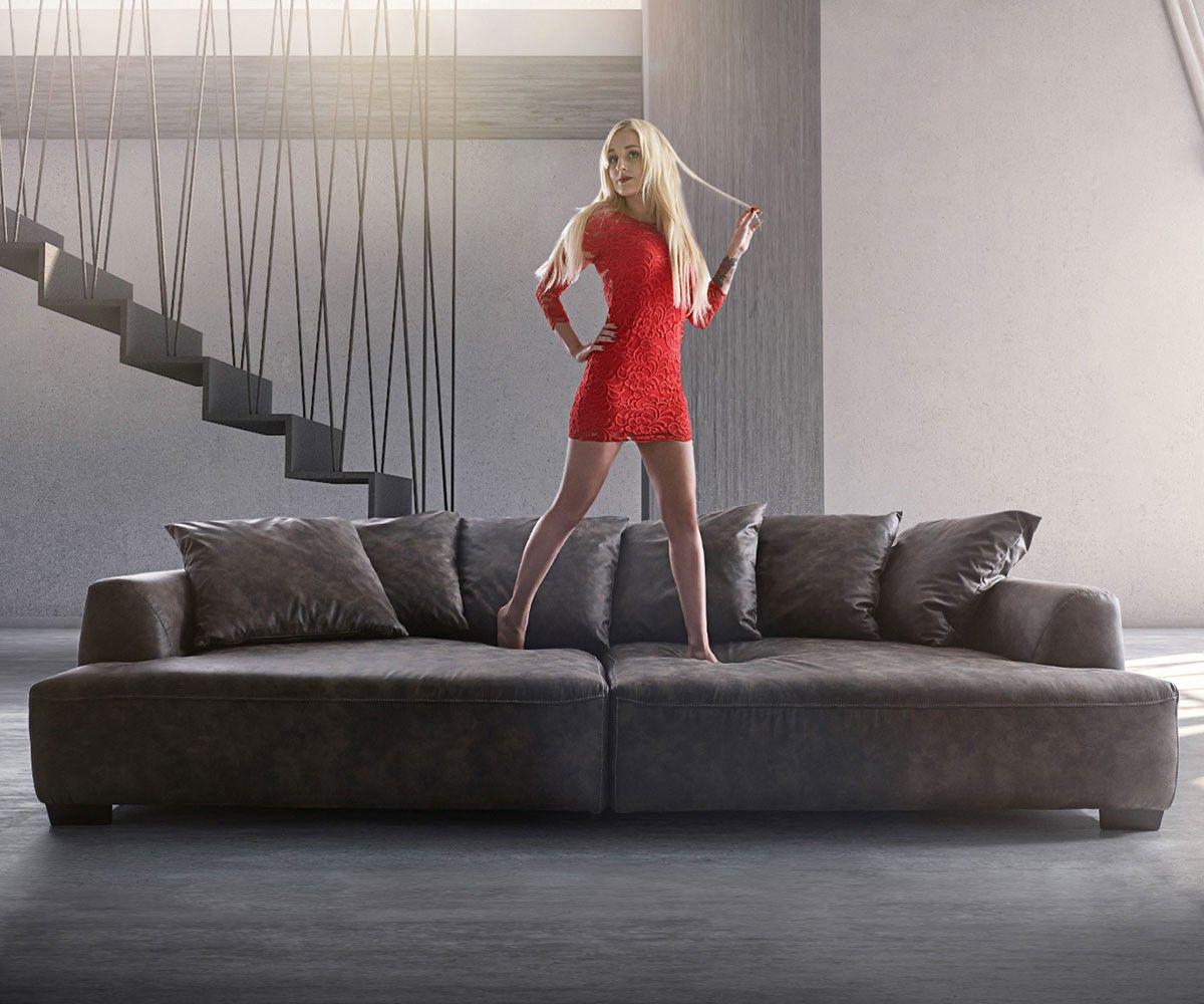 Big Sofa Kingsize 280x140 Anthrazit Vintage by Ultsch | Premiumsofas ...