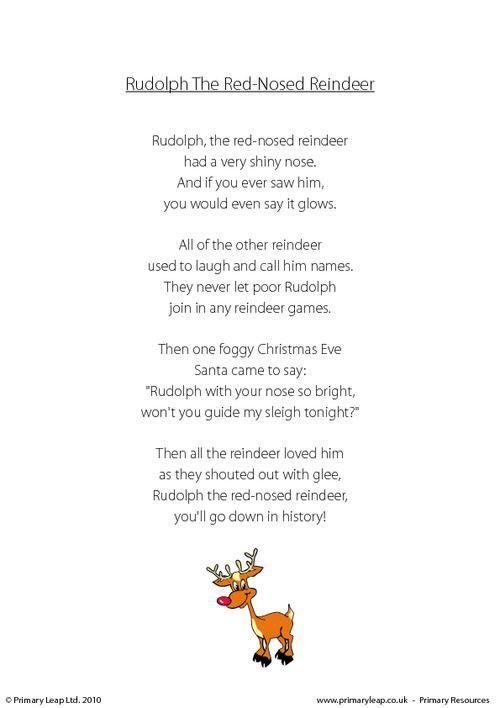 PrimaryLeapuk - Rudolph The Red-Nosed Reindeer Worksheet