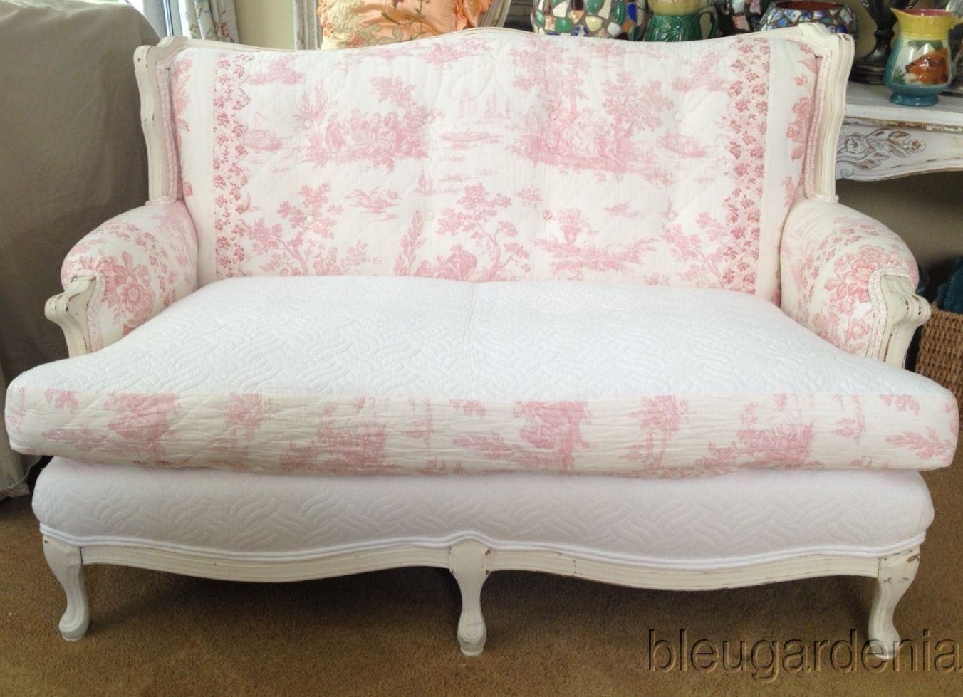 distressed and home loveseat product sofa country sage green detail kuo white french adele kathy