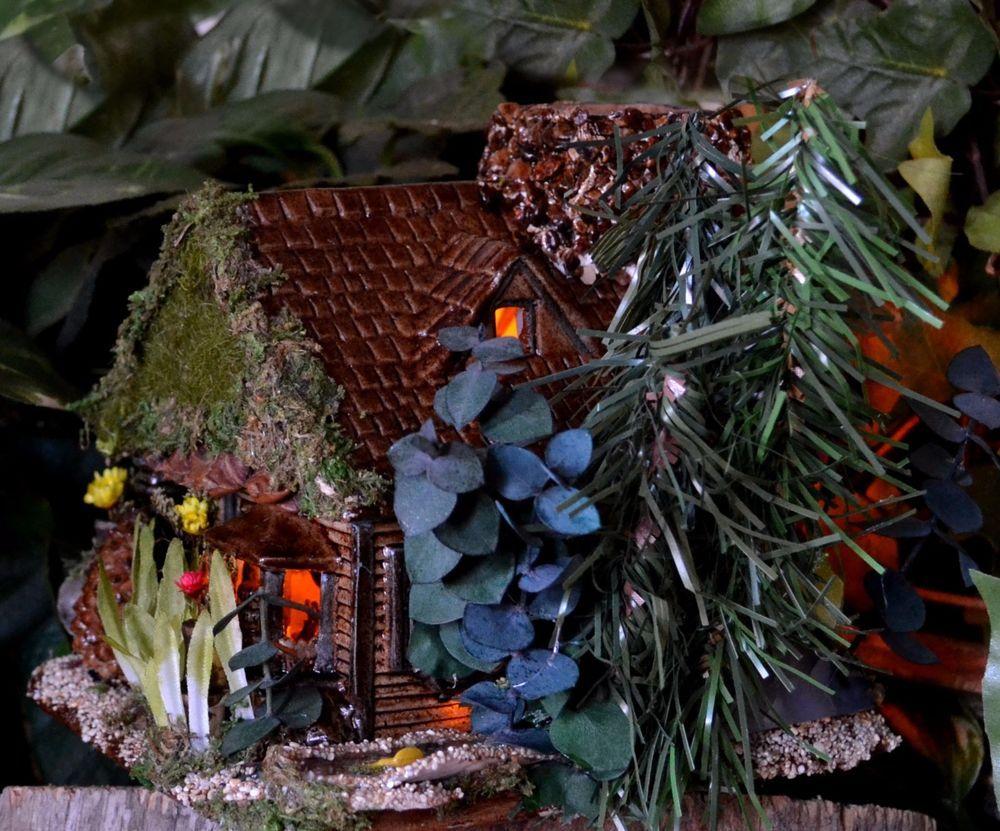 Miniature Fairy House Night lite, Fairy Fish Pond, Fairy Garden,Handmade OOAK,