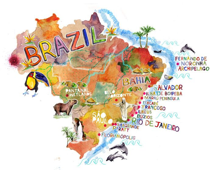 Map Of Brazil Conde Nast Traveller Ilustracoes Com Mapas Brasil