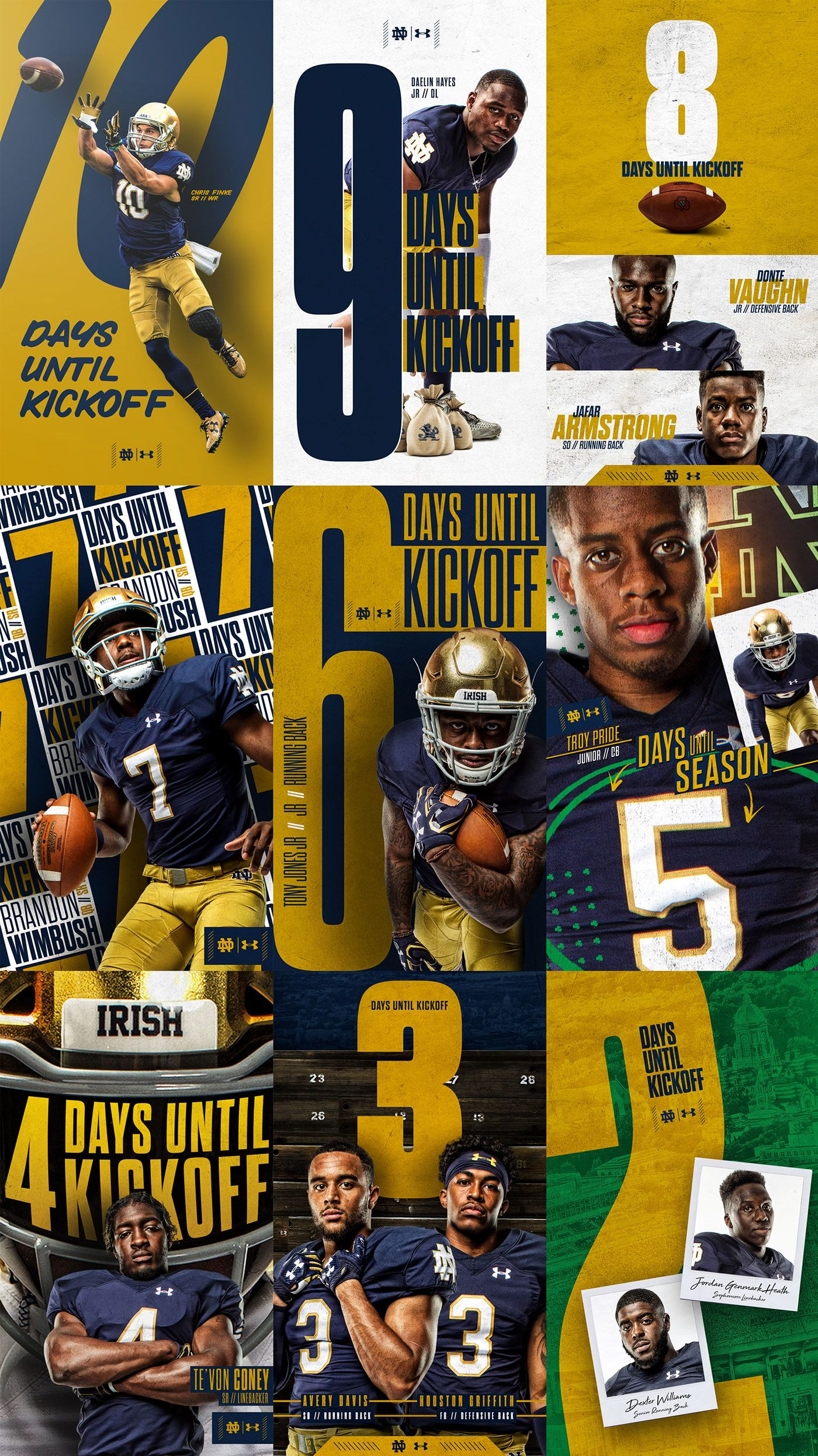 Notre Dame Football 10 Day Countdown Social Graphics On Behance