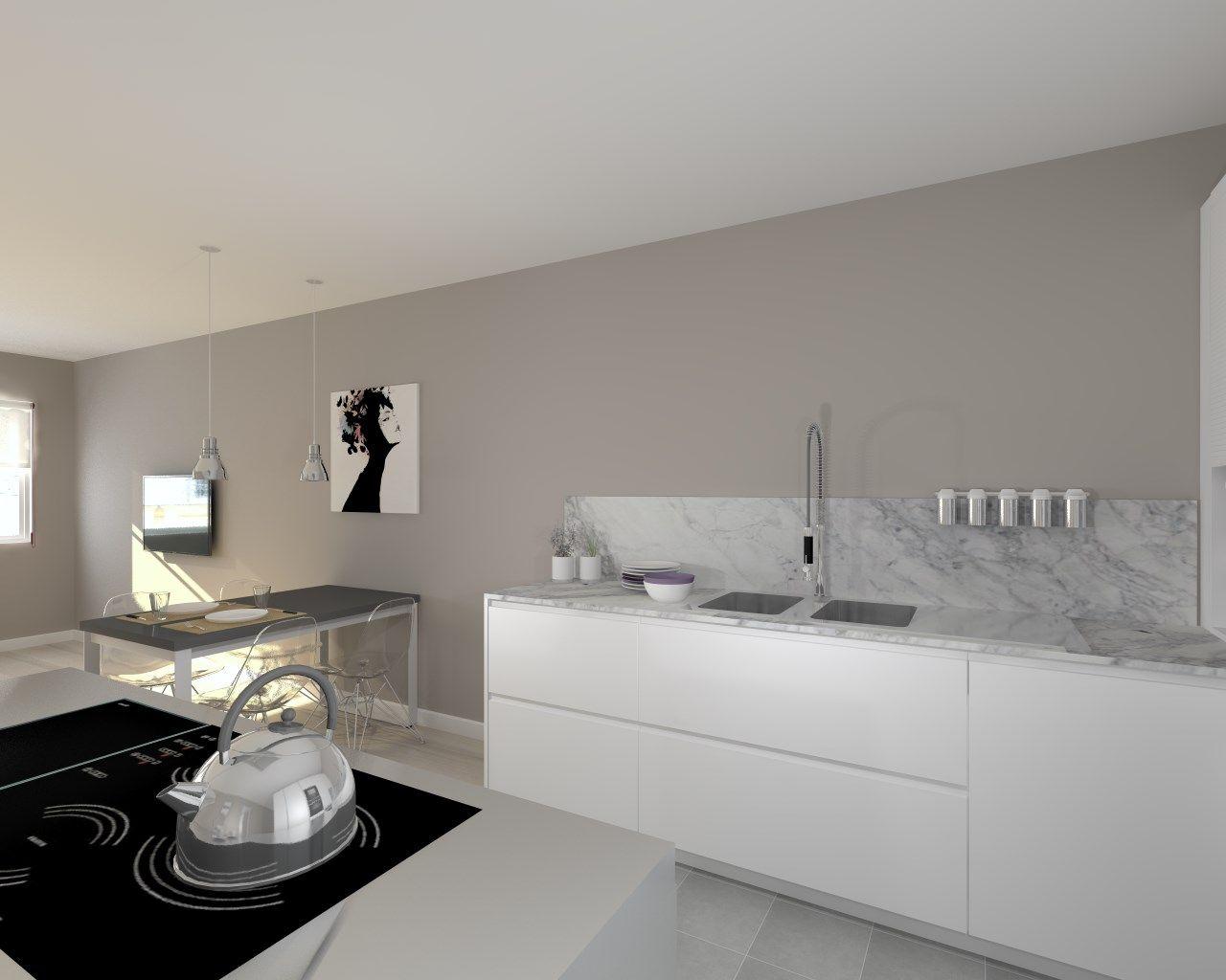 Cocina santos Modelo Line Estratificado Blanco Encimera Granito ...