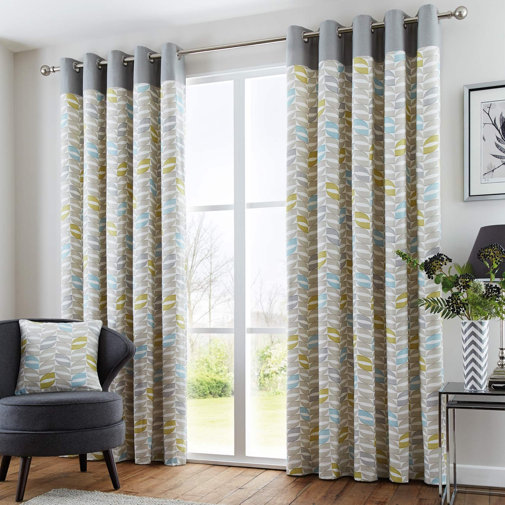 Flat panel curtains - Copeland Geometric Modern Eyelet Curtains Grey Duck Egg Green