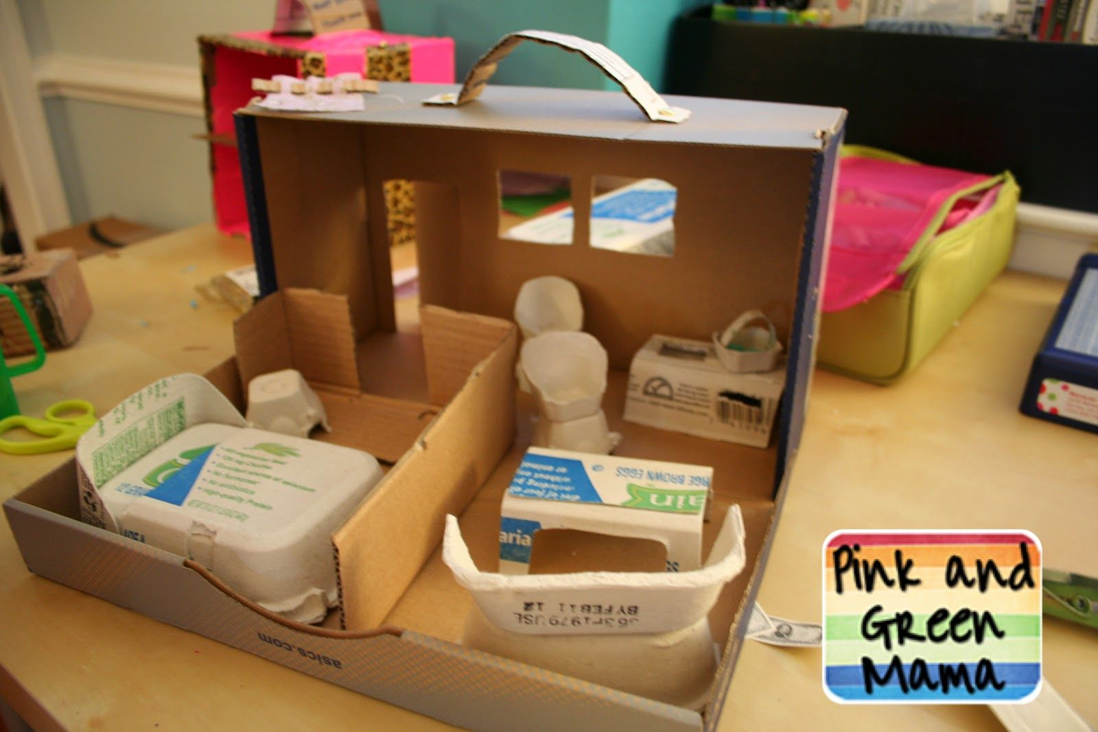 Shoe Box Dollhouse Craft For Kids: Mini Doll House From Small Box And Egg Carton