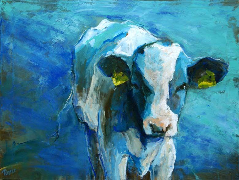 Koeienschilderij - kalfje in blauw veld - Tineke Hoepman