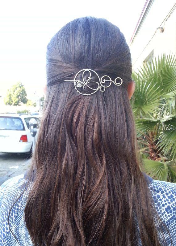 hair clip silver wire hair pin hair barrette shawl pin by Kapelika ...