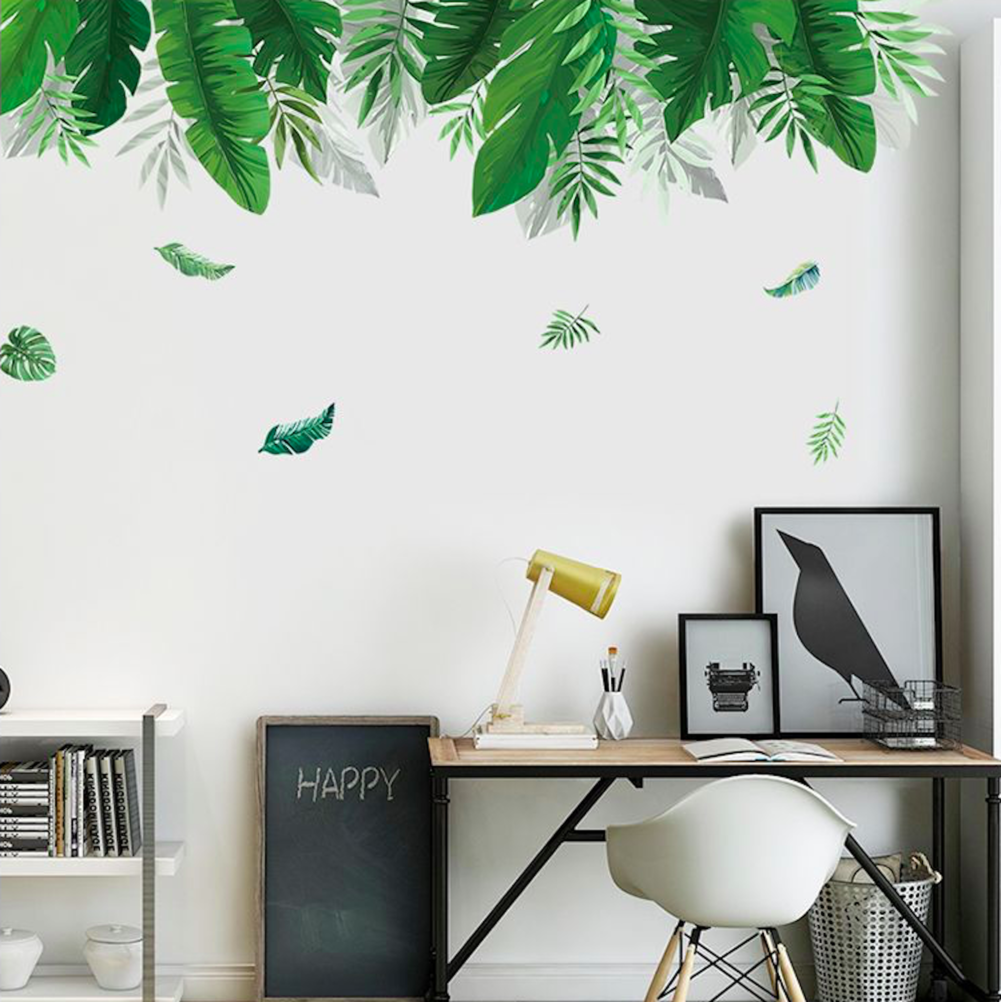 Large Green Leaves Wall Decal Tropical Wallpaper Office Wall Decal Greenery Botanical Nursery Nature Living Room Wall Decal In 2020 Wall Stickers Living Room Living Room Decals Nursery Wall Decor #wall #art #decals #for #living #room