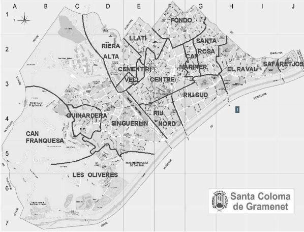 Mapa Santa Coloma De Gramenet Mapas Santos Rosas