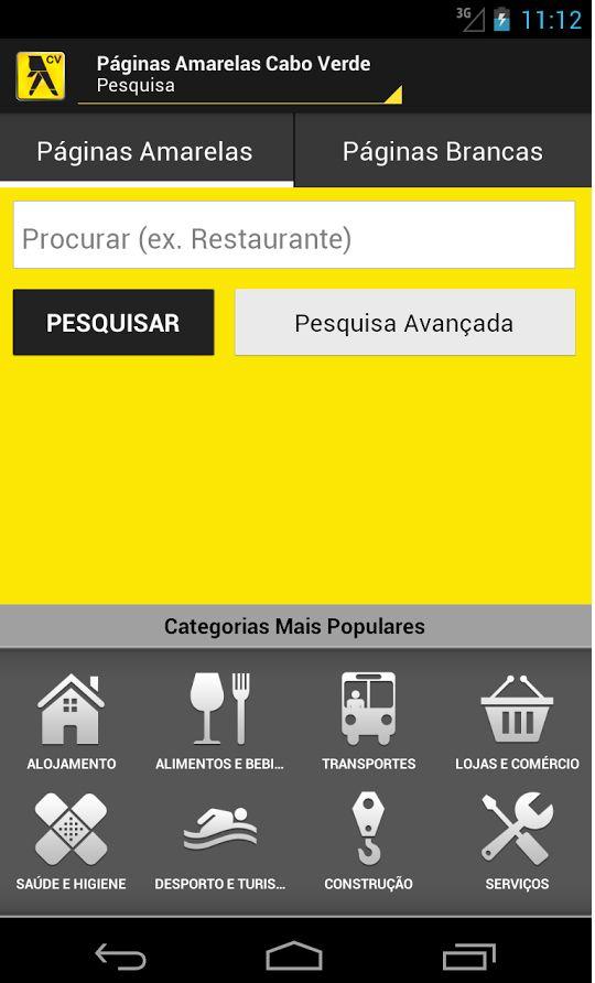 Páginas Amarelas Mobile de Cabo Verde  www.paginasamarelas.cv